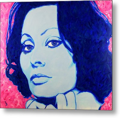 Metal Print featuring the painting Sophia Loren Pop Art Portrait by Bob Baker