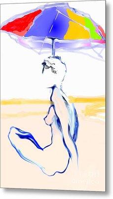 Sophi's Umbrella #2 - Female Nude Metal Print by Carolyn Weltman