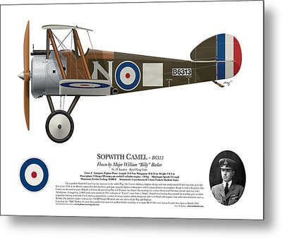 Sopwith Camel - B6313 March 1918 - Side Profile View Metal Print by Ed Jackson