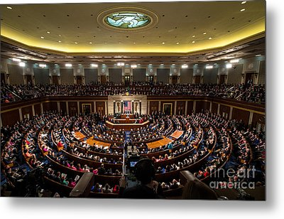 Sotu At U.s. Congress Joint Session Metal Print by Science Source