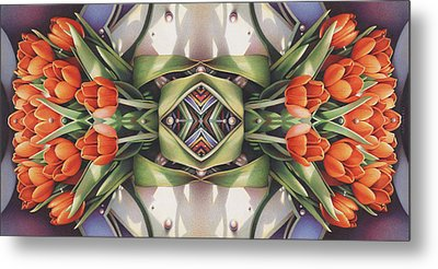 Soul Plexus - Tulips With Pearl Chakras Metal Print by Amy S Turner