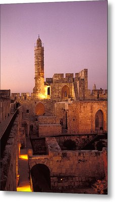 Sound And Light Show At Jerusalem City Metal Print by Richard Nowitz