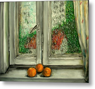 Sound Of Rain  Oil Painting Metal Print by Natalja Picugina