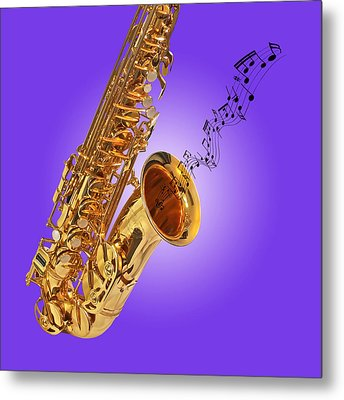 Sounds Of The Sax In Purple Metal Print by Gill Billington