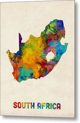 South Africa Watercolor Map Metal Print by Michael Tompsett