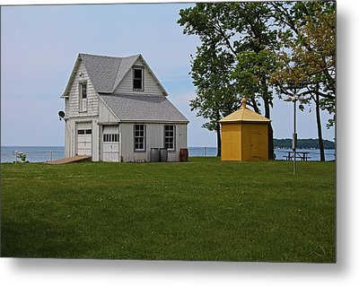 South Bass Island Lighthouse Barn And Oil Storage Building I Metal Print by Michiale Schneider
