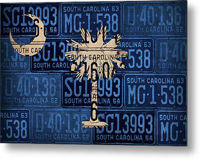 South Carolina State Flag Vintage License Plate Art Metal Print by Design Turnpike
