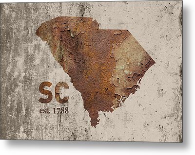 South Carolina State Map Industrial Rusted Metal On Cement Wall With Founding Date Series 010 Metal Print by Design Turnpike