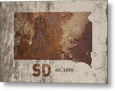 South Dakota State Map Industrial Rusted Metal On Cement Wall With Founding Date Series 036 Metal Print