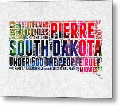 South Dakota Watercolor Word Cloud Metal Print by Naxart Studio