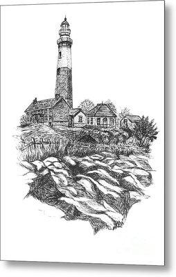 South Fork Lighthouse L I N Y  Bw Metal Print by Carol Wisniewski