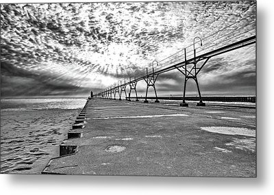 South Haven Pier Wide Angle Metal Print