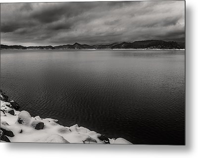 South Holston Snow Bandw Metal Print