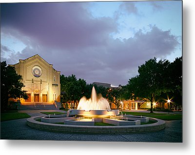 South Main Baptist Church At Twilight - Midtown Houston Texas Metal Print