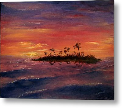 Metal Print featuring the painting South Pacific Atoll by Jack Skinner