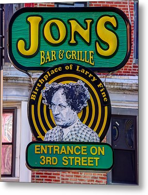 South Philly Skyline - Birthplace Of Larry Fine Near Jon's Bar And Grille-a - Third And South Street Metal Print by Michael Mazaika