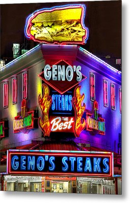 South Philly Skyline - Geno's Steaks-1 - Ninth And Passyunk In South Philadelphia Metal Print