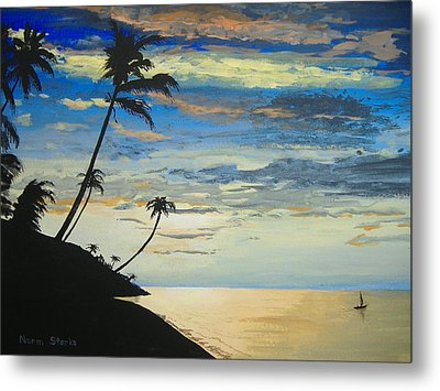 Metal Print featuring the painting South Sea Sunset by Norm Starks