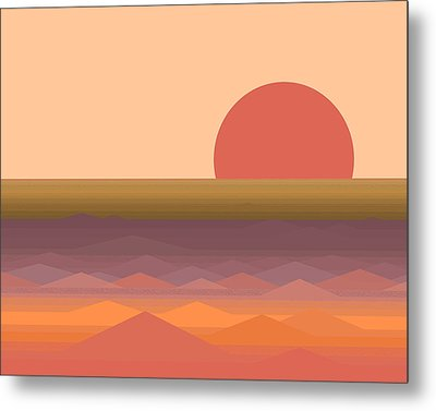 Metal Print featuring the digital art South Seas Abstract Sunrise by Val Arie