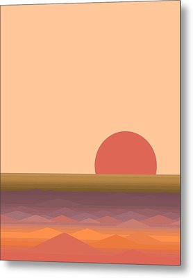 Metal Print featuring the digital art South Seas Abstract Sunrise - Vertical by Val Arie