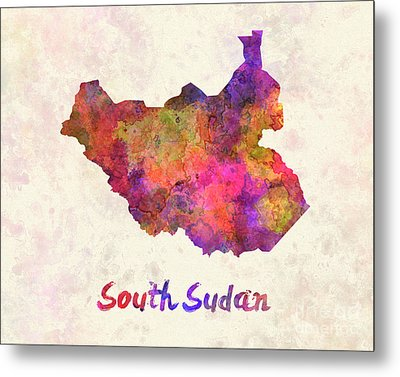South Sudan In Watercolor Metal Print by Pablo Romero