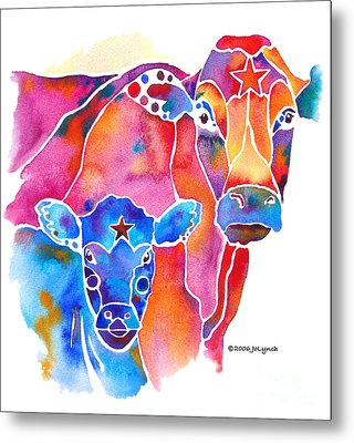 South West Cow And Calf Metal Print