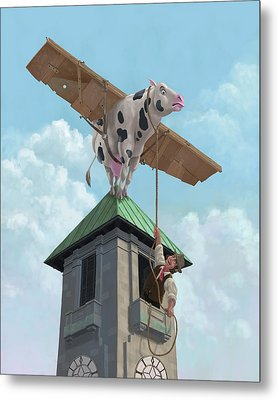 Southampton Cow Flight Metal Print by Martin Davey