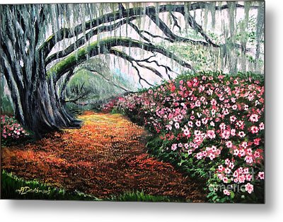 Metal Print featuring the painting Southern Charm Oak And Azalea by Patricia L Davidson