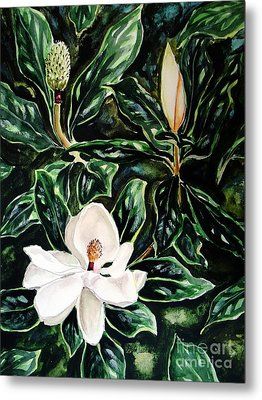 Southern Magnolia Bud And Bloom Metal Print by Patricia L Davidson