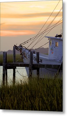 Southern Shrimp Boat Sunset Metal Print by Dustin K Ryan