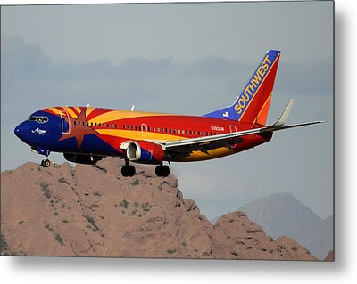 Southwest Boeing 737-3h4 N383sw Arizona Phoenix Sky Harbor December 20 2015  Metal Print by Brian Lockett