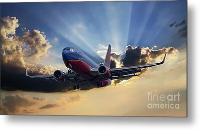 Southwest Dramatic Rays Of Light Metal Print