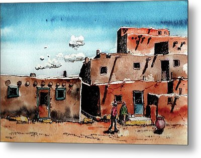 Metal Print featuring the painting Southwest Homes by Terry Banderas