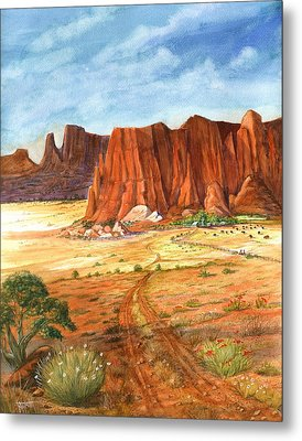 Metal Print featuring the painting Southwest Red Rock Ranch by Marilyn Smith