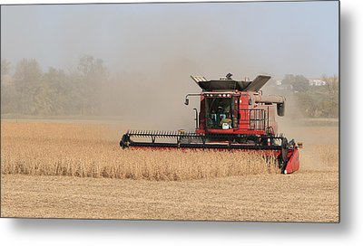 Soybean Harvest In Fremont County Iowa Metal Print