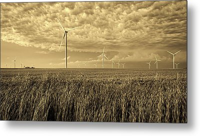 Soybeans And Turbines Metal Print by Mountain Dreams