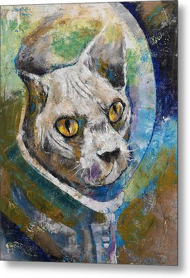 Space Cat Metal Print by Michael Creese