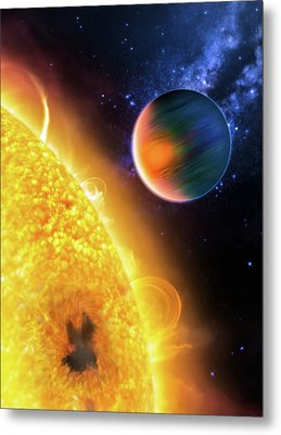 Metal Print featuring the photograph Space Image Extrasolar Planet Yellow Orange Blue by Matthias Hauser
