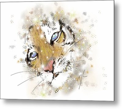 Space Lion Cub White Metal Print by Darren Cannell