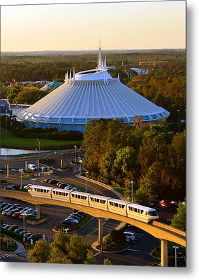 Space Mountain And Monorail Peach Metal Print
