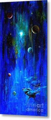 Metal Print featuring the painting Space Shark by Arturas Slapsys