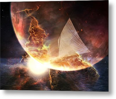 Space Ship Metal Print by Michele Cornelius