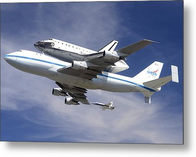 Space Shuttle Endeavour Over Lax With Hornet Chase Plane September 21 2012 Metal Print by Brian Lockett