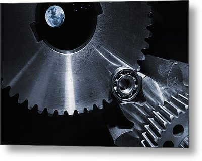 Space Technology And Titanium Parts Metal Print by Christian Lagereek