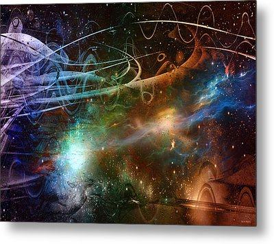 Metal Print featuring the digital art Space Time Continuum by Linda Sannuti