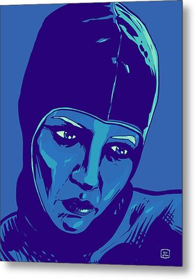 Spaceman In Blue Metal Print by Giuseppe Cristiano