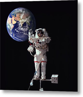 Spacewalk Earth Metal Print