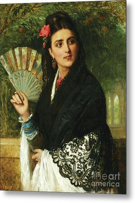 Spanish Lady With Fan Metal Print by Pg Reproductions
