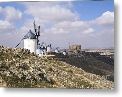 Spanish Windmills And Castle Of Consuegra Metal Print by Perry Van Munster
