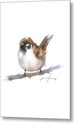 Sparrow Bird Watercolor Art Metal Print by Nitin Singh